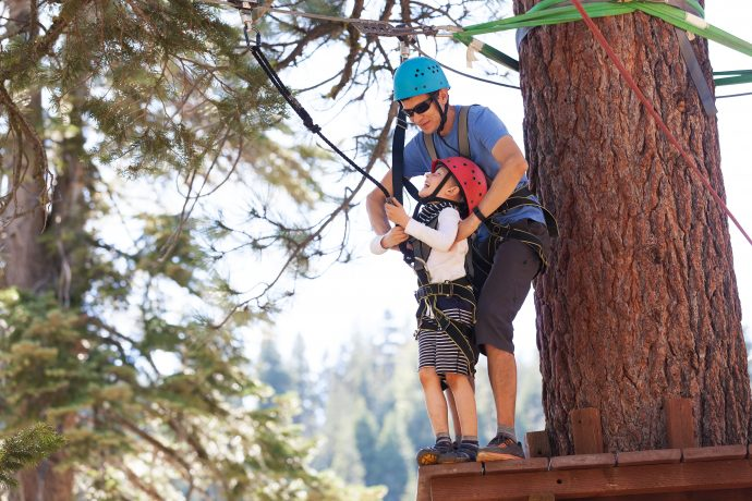 family of father and son climbing together at treetop adventure park